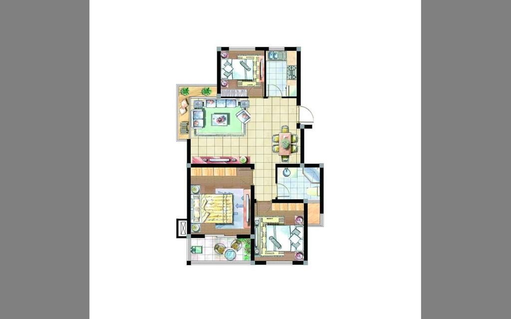 综合家具psd 分层户型图块 彩平图库图片下载 室内设计装修图 房地产