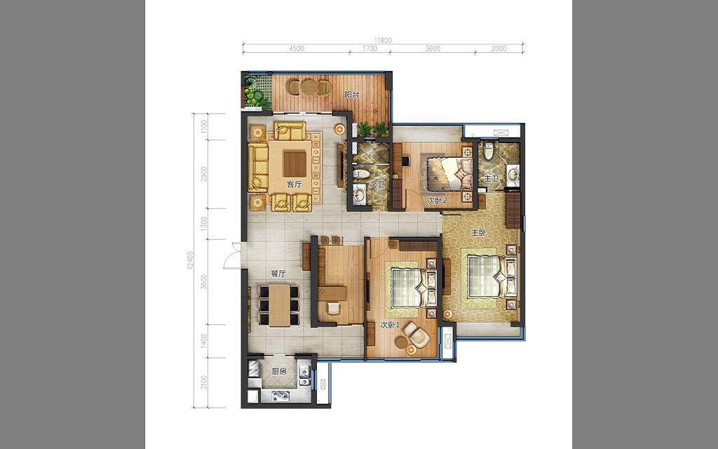 高清地产设计素材彩色户型图