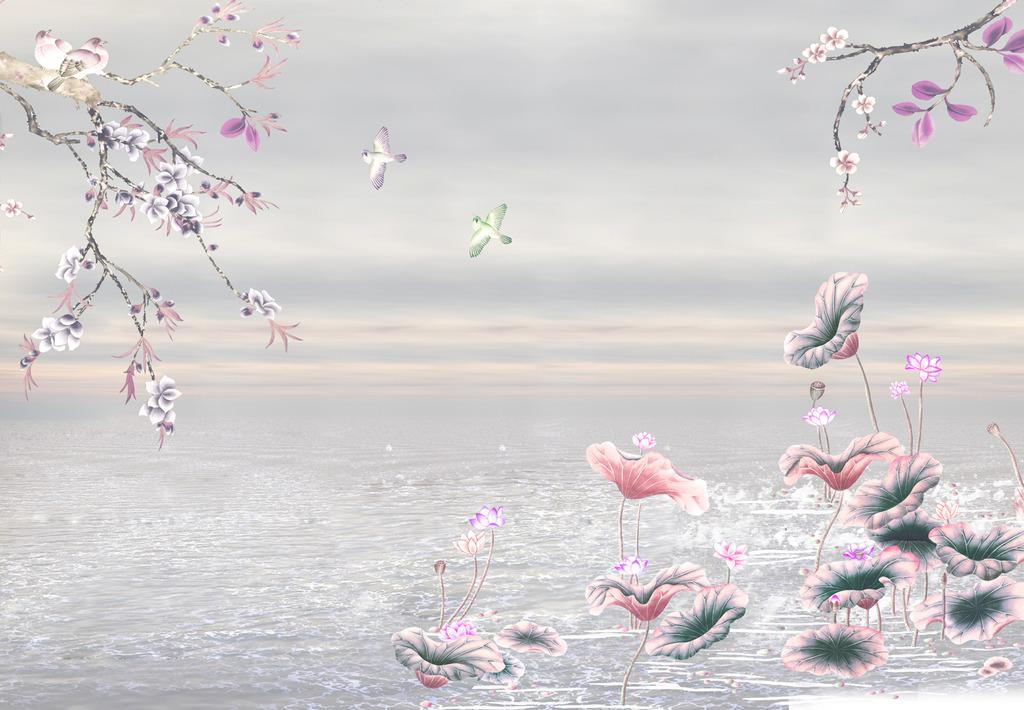 手绘花鸟手绘壁画花鸟图