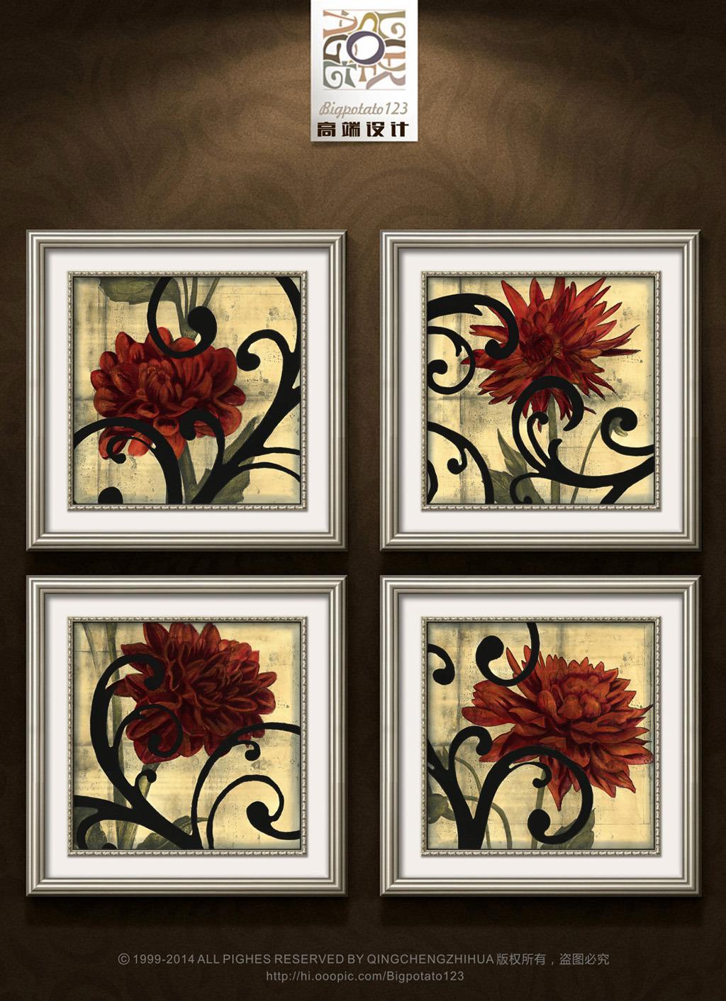 美克美家欧式复古花卉装饰画