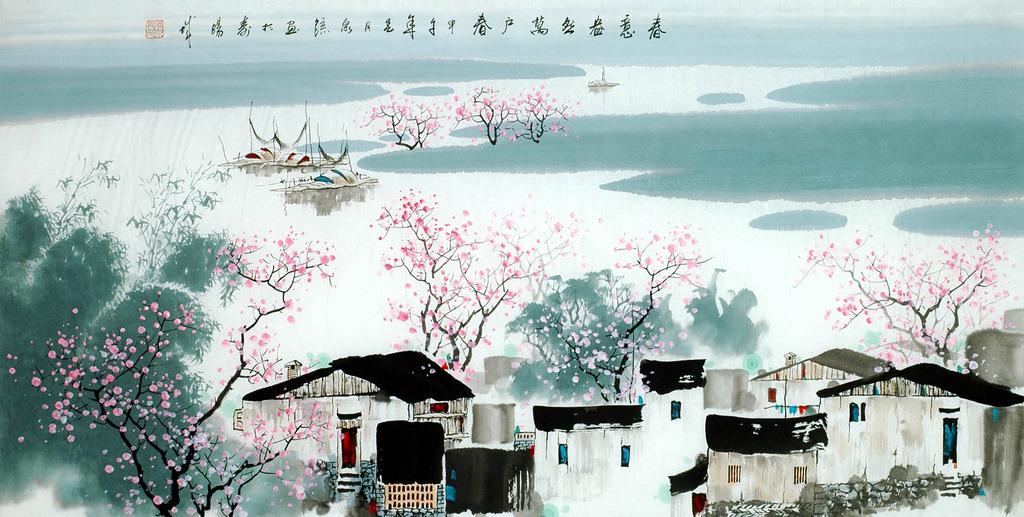 桂林山水漓江风景画江南水乡春意盎然