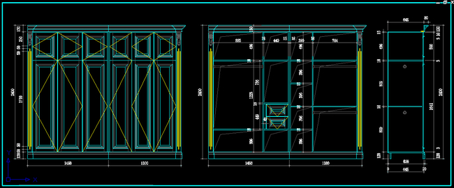 室内装修设计别墅衣帽间欧式风格cad图纸
