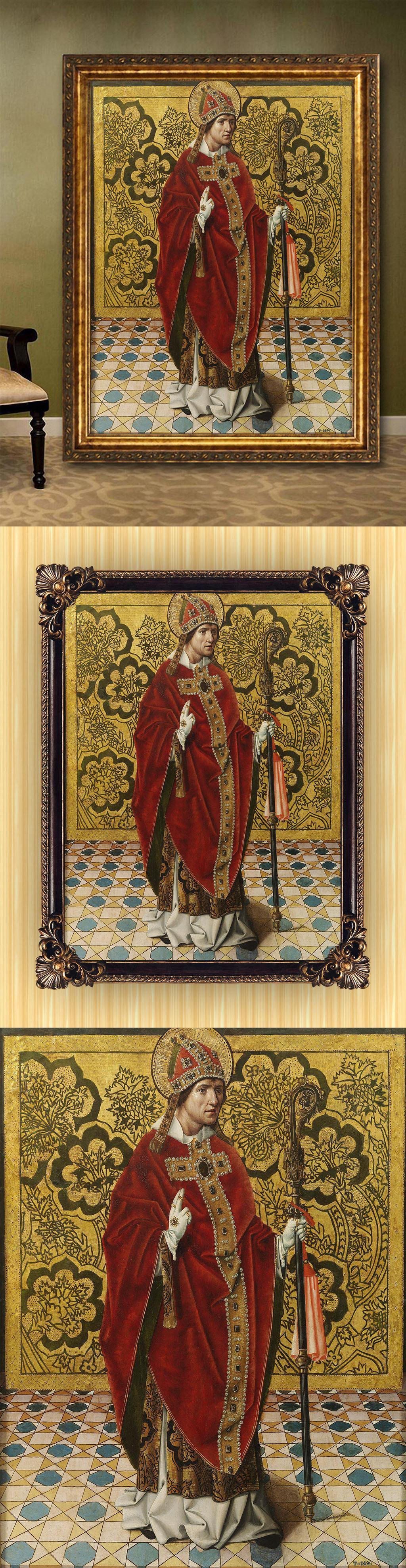 高清手绘欧式古典写实风格教父肖像