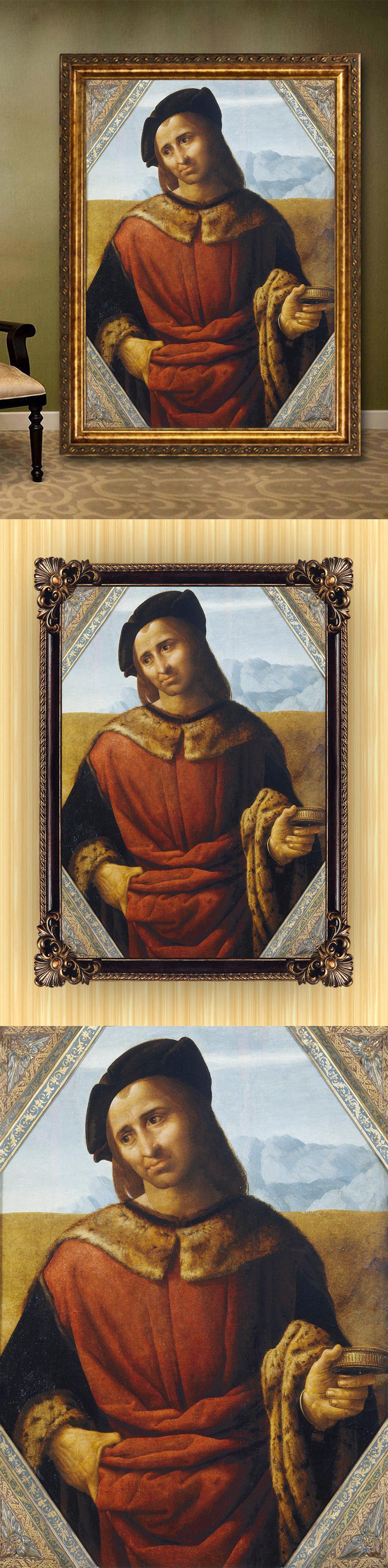 高清手绘欧式古典写实风格男子半身像油画