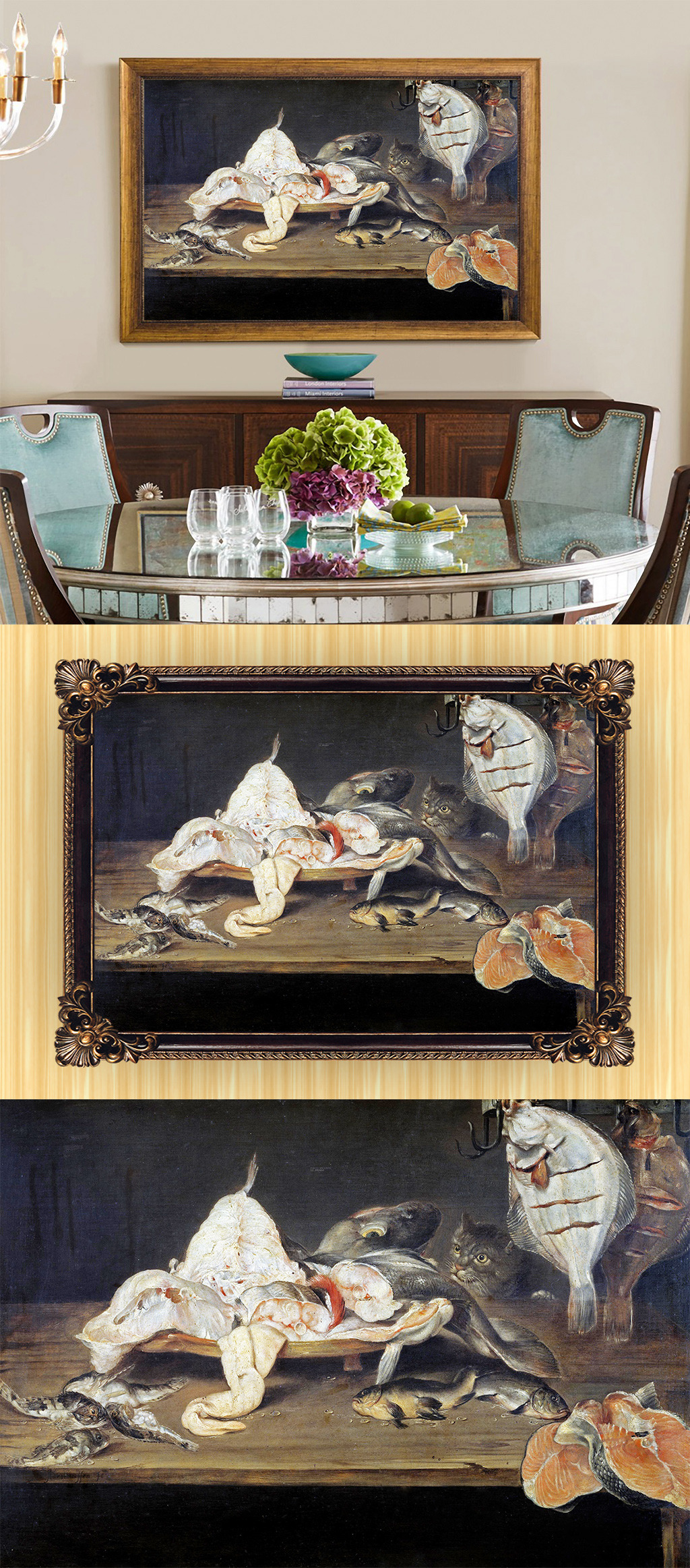 高清手绘欧式古典写实风格厨房食物油画