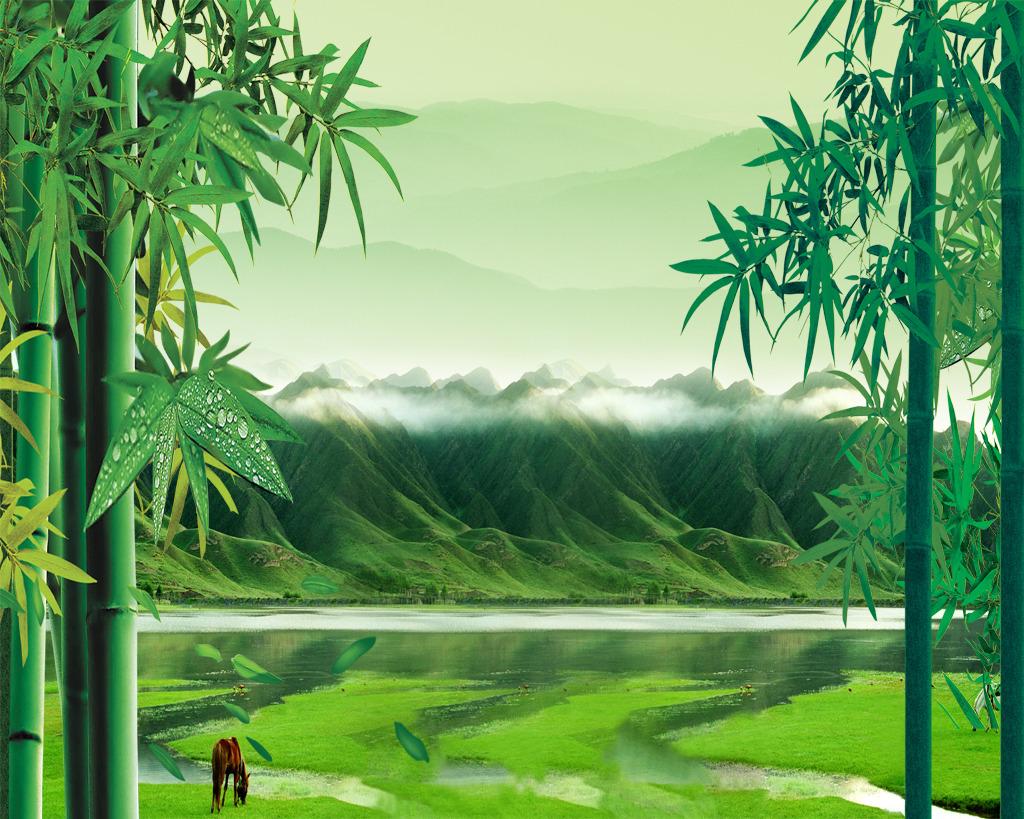 竹报平安沙发背景墙 绿竹翠竹 立体竹子 3d立体竹子壁画 绿色清新竹