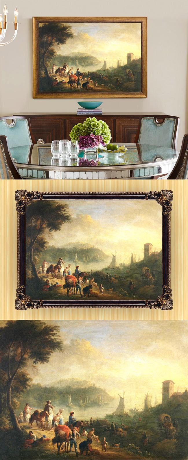 高清手绘欧式古典写实风格风景人物油画