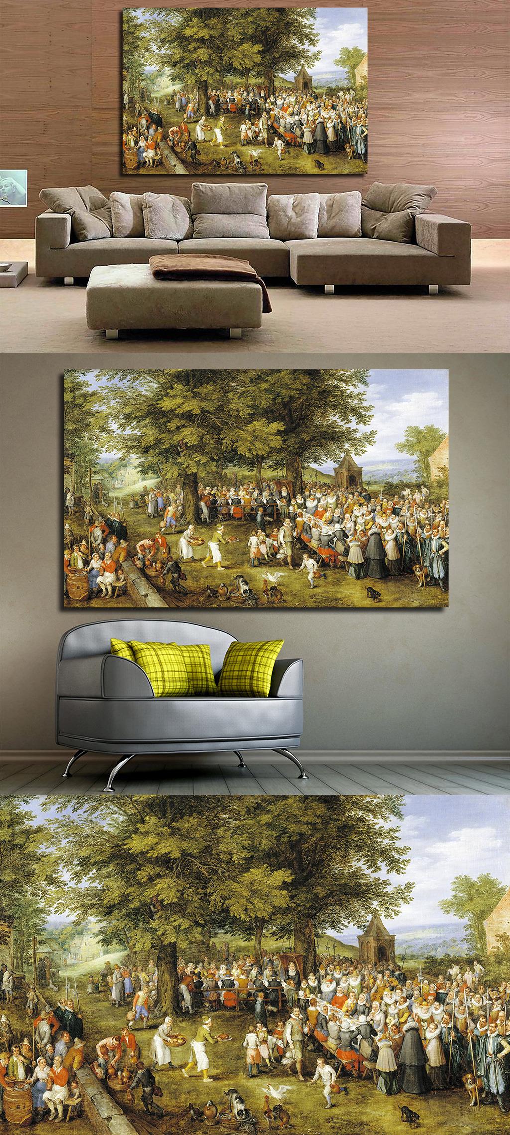高清手绘欧式古典写实风格乡村集市油画