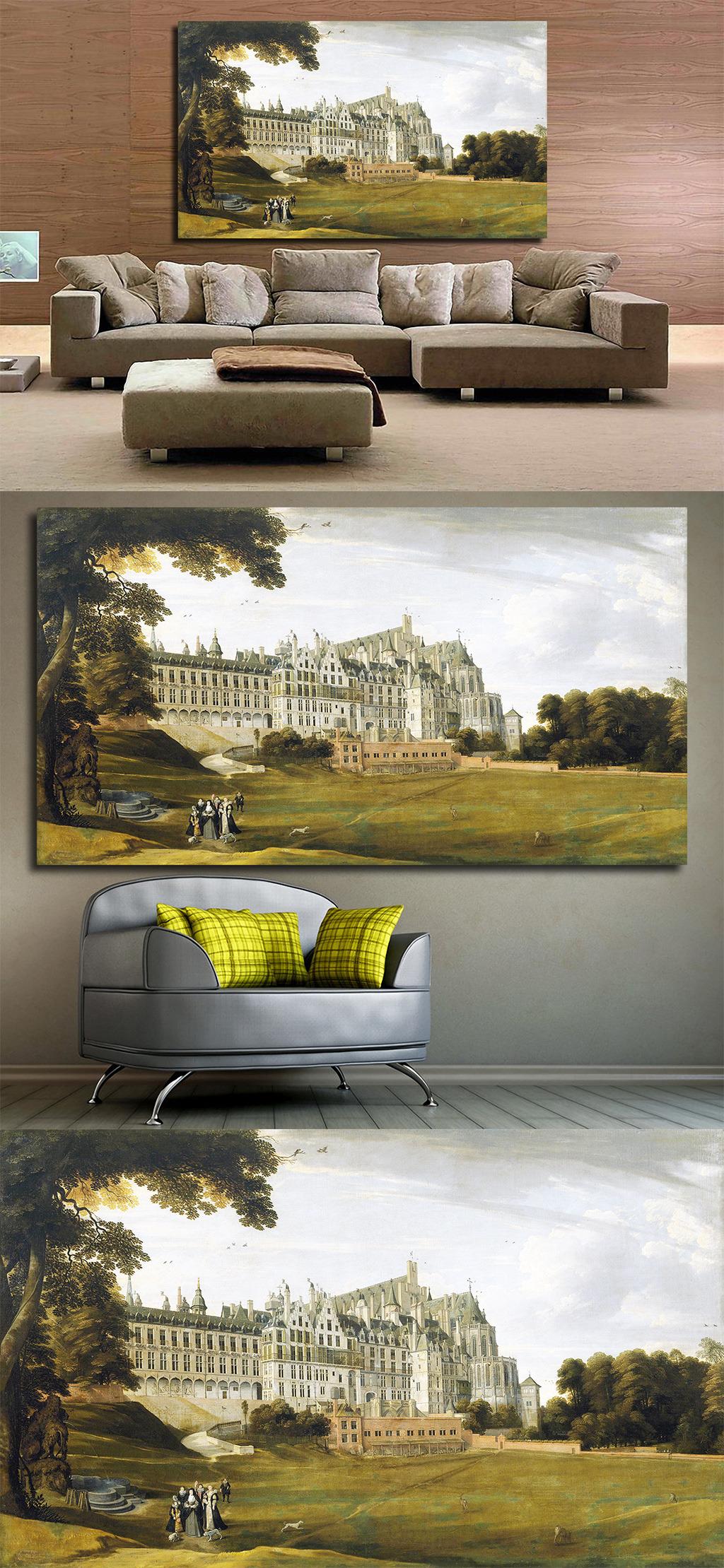 高清手绘欧式古典写实风格宫廷教堂油画