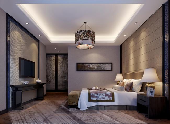 中式卧室3d效果图模型素材