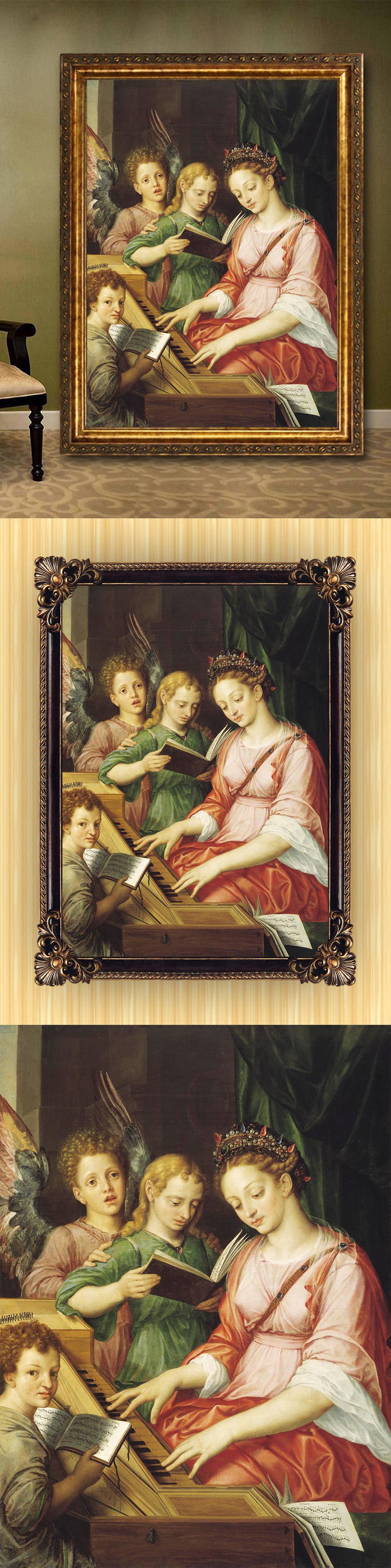 高清手绘欧式古典写实风格天使圣母油画