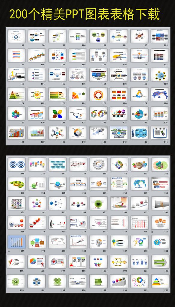 200个精美ppt图表表格模板下载