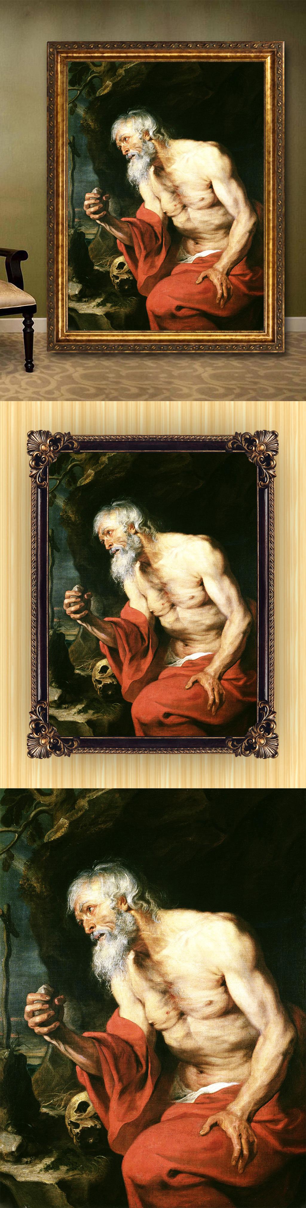 高清手绘欧式古典写实风格老人画像油画