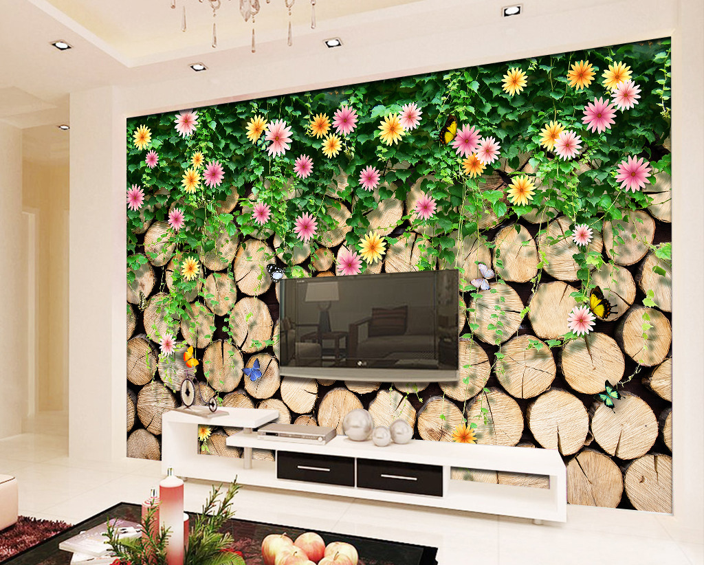 蔷薇藤蔓树木电视背景墙纸
