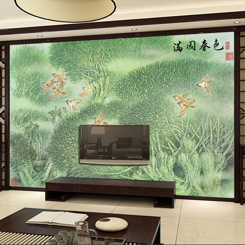 电视墙壁画山水画花鸟图壁纸