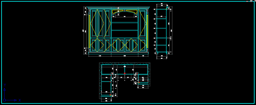 欧式别墅豪华转角装饰柜酒柜设计cad图