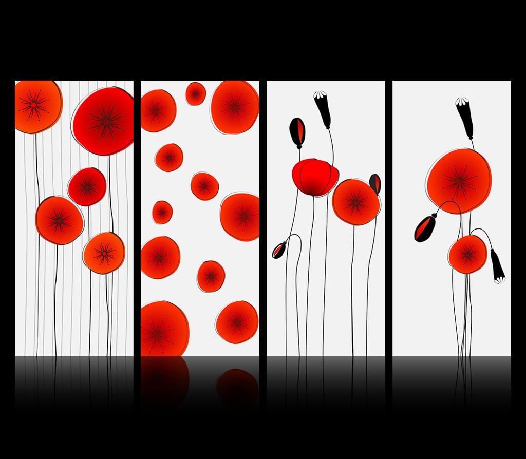 红色抽象艺术花朵装饰画