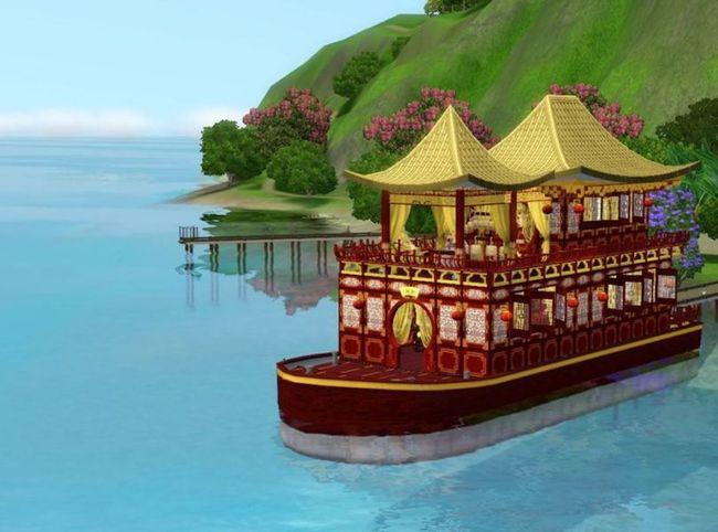 古代场景船立绘游戏动画