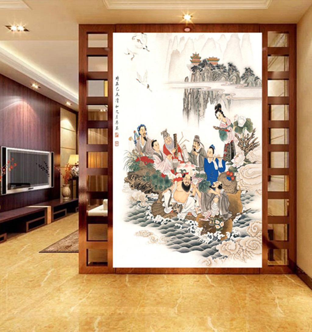 八仙过海中式古典文化玄关背景墙