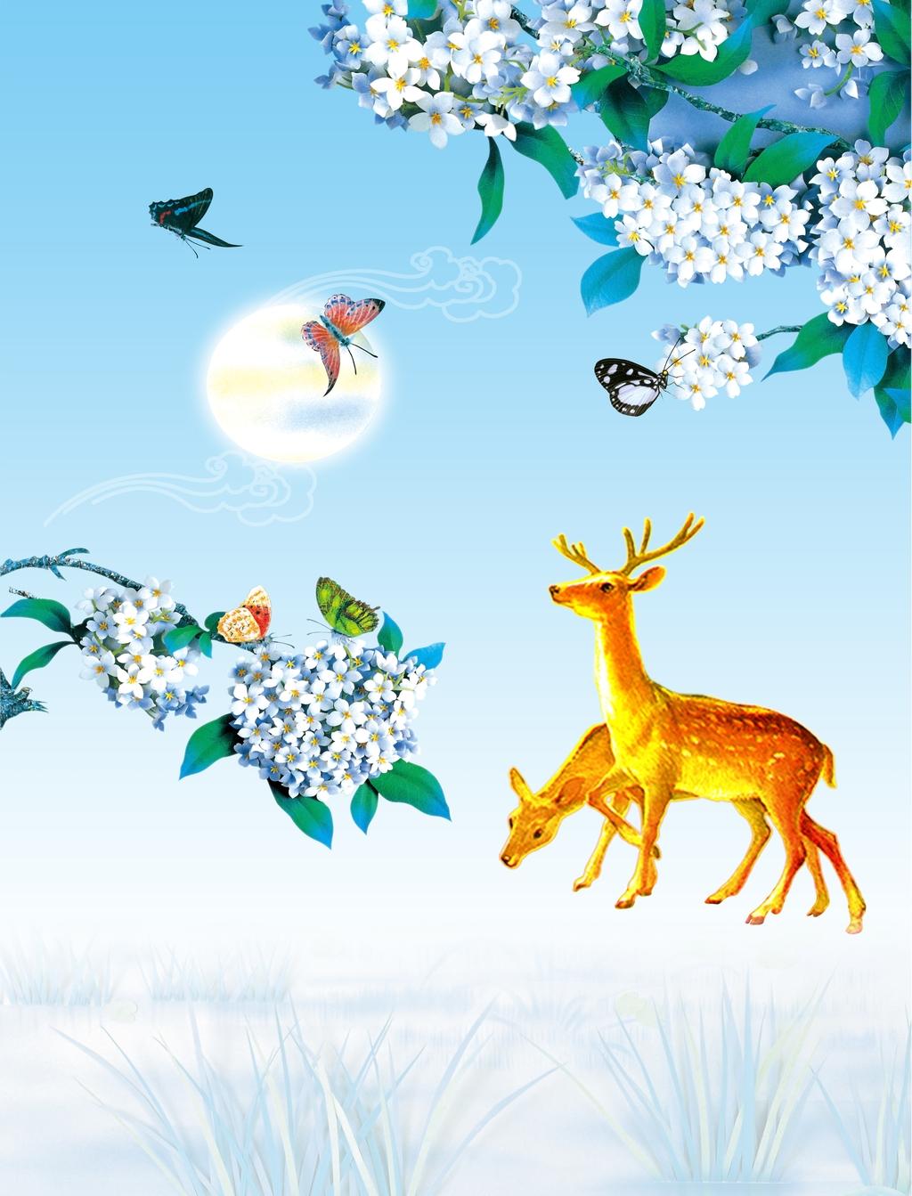 鹿和花手绘背景图