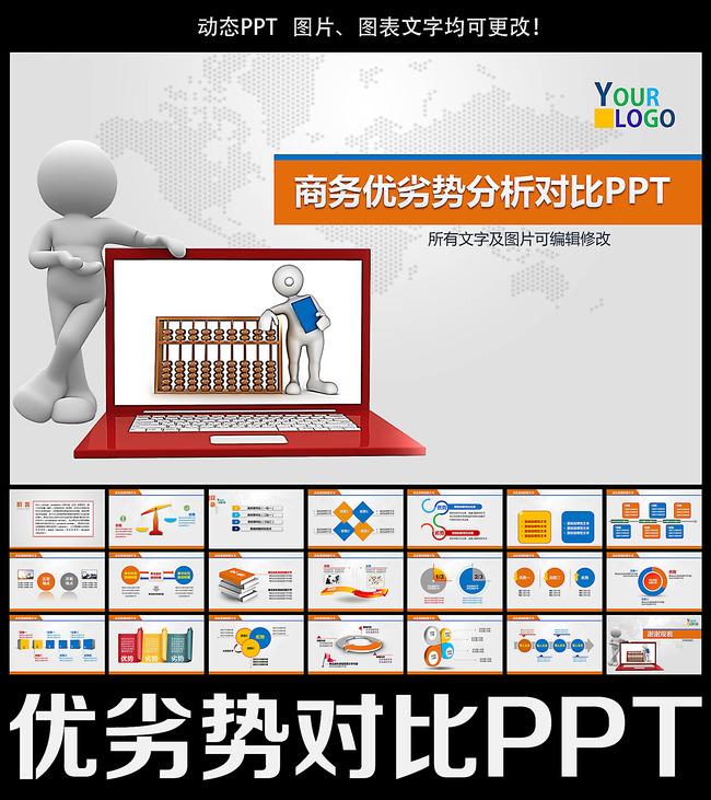 商务优劣势对比数据分析ppt模板下载