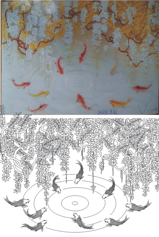 艺术玻璃紫藤鱼背景玄光雕刻图片下载