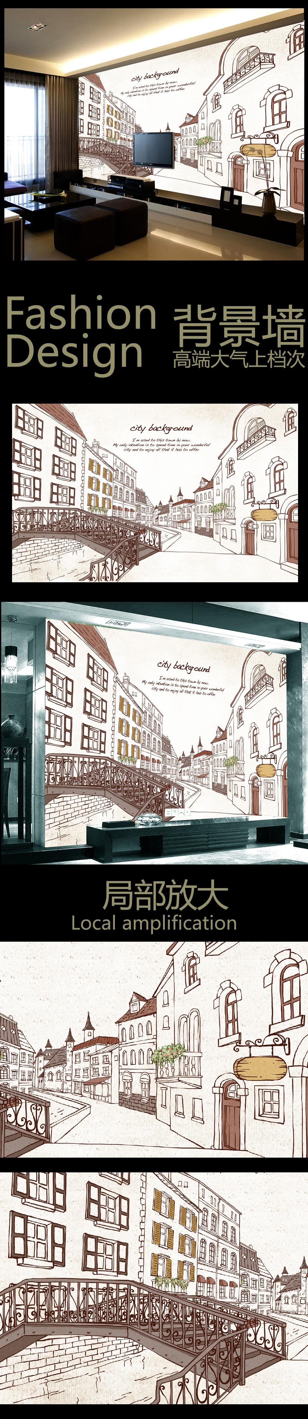 手绘城市个性背景墙