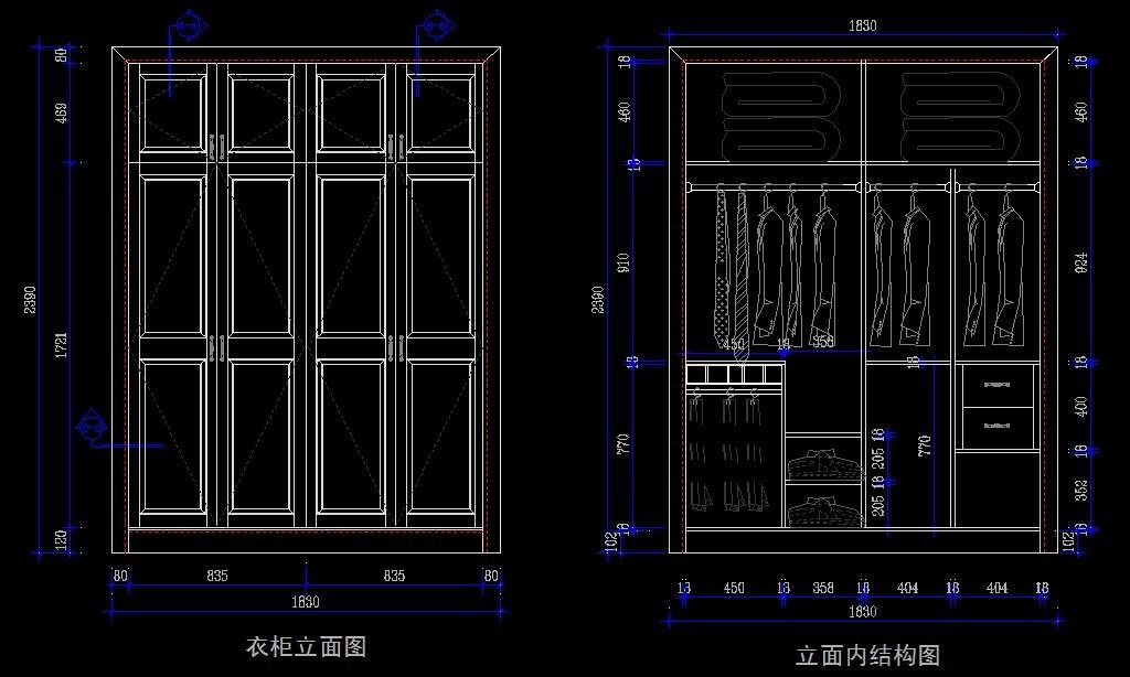 cad衣柜生产图 组装衣柜 板式衣柜 衣柜深化图纸 家具设计 cad柜子