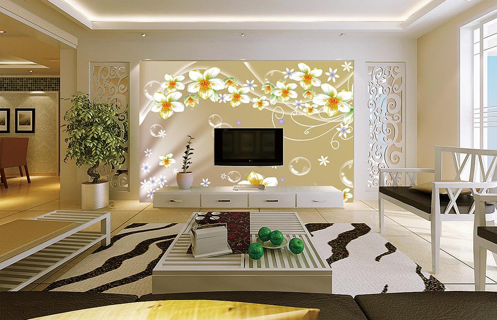 梦幻花朵客厅沙发电视背景