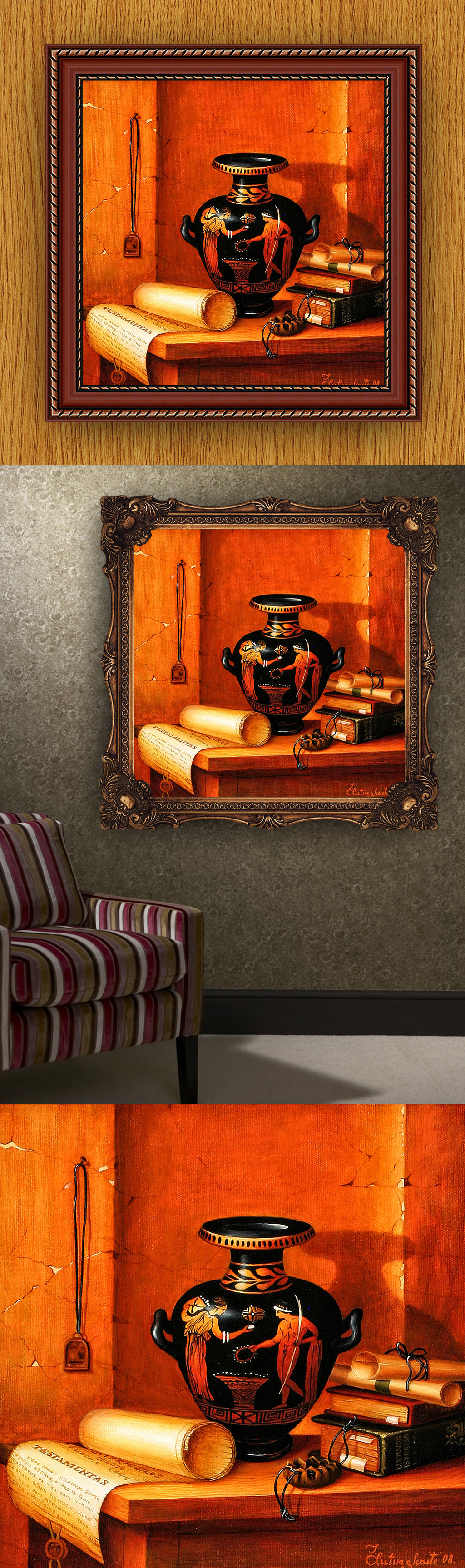 高清手绘欧式古典写实风格埃及静物画