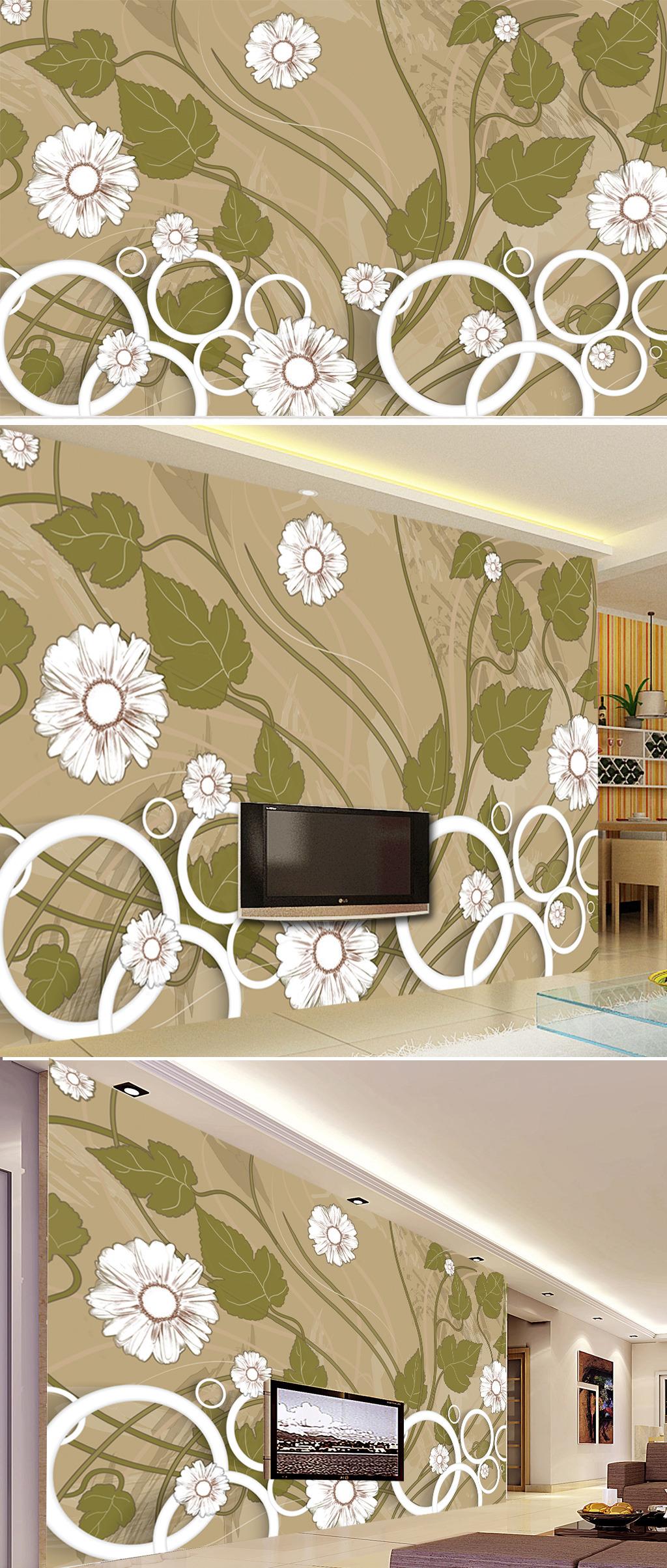 客厅3d手绘花朵电视背景墙