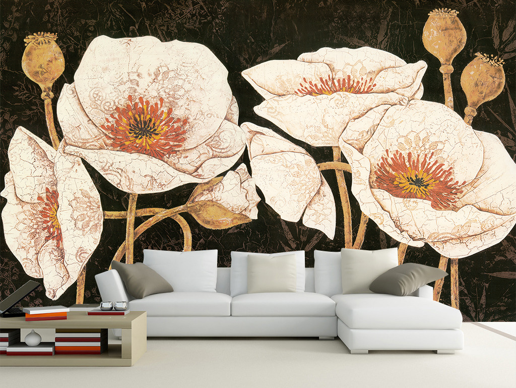 欧式复古花卉电视背景墙纸壁画