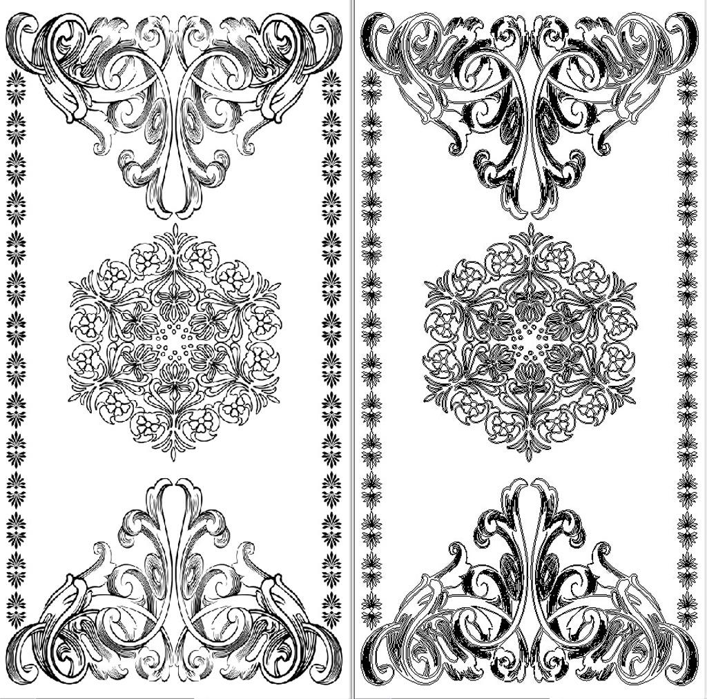 索菲玄关欧式花纹背景墙雕刻路径撕纸图