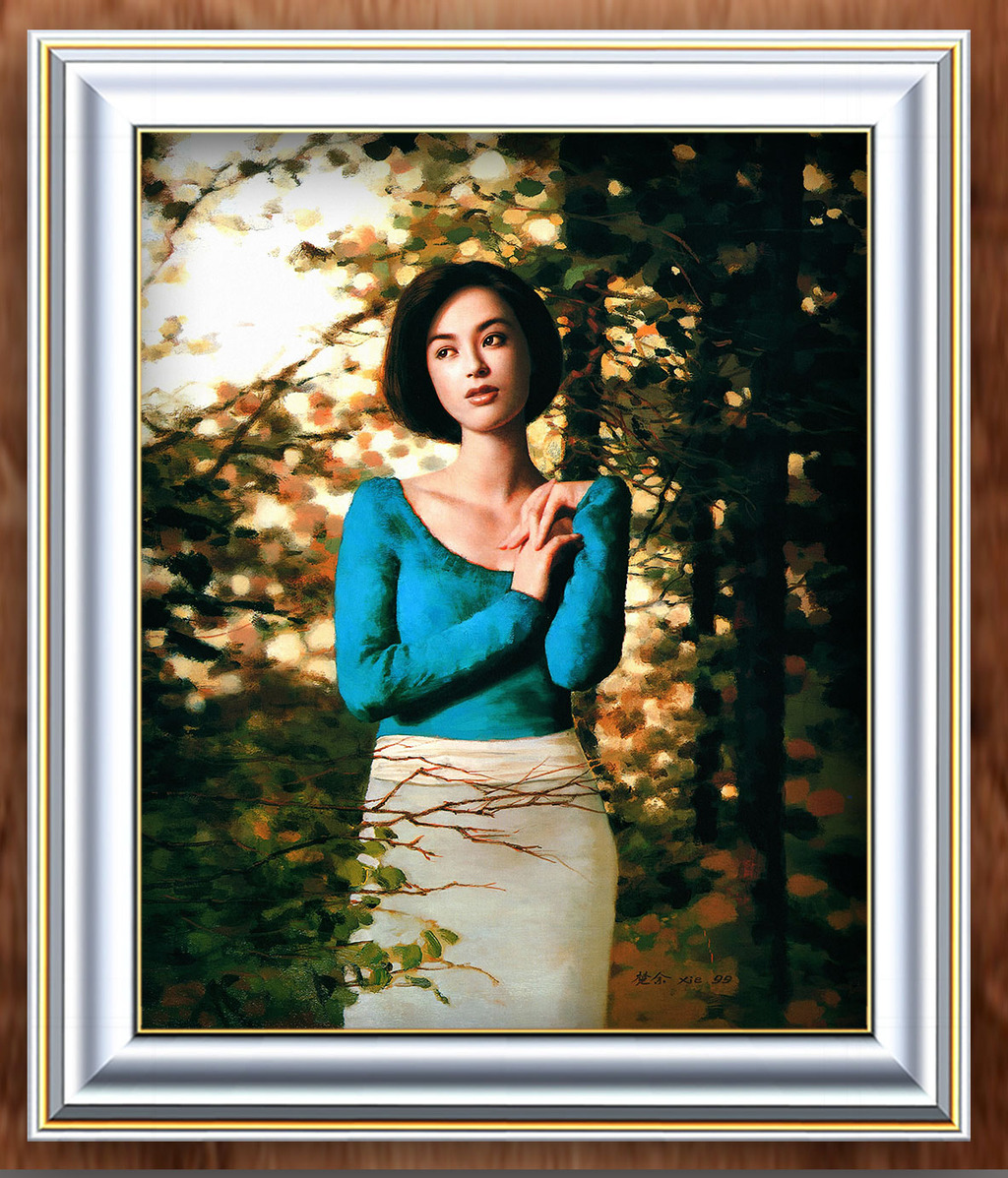 树林中的蓝衣女子现代人物油画