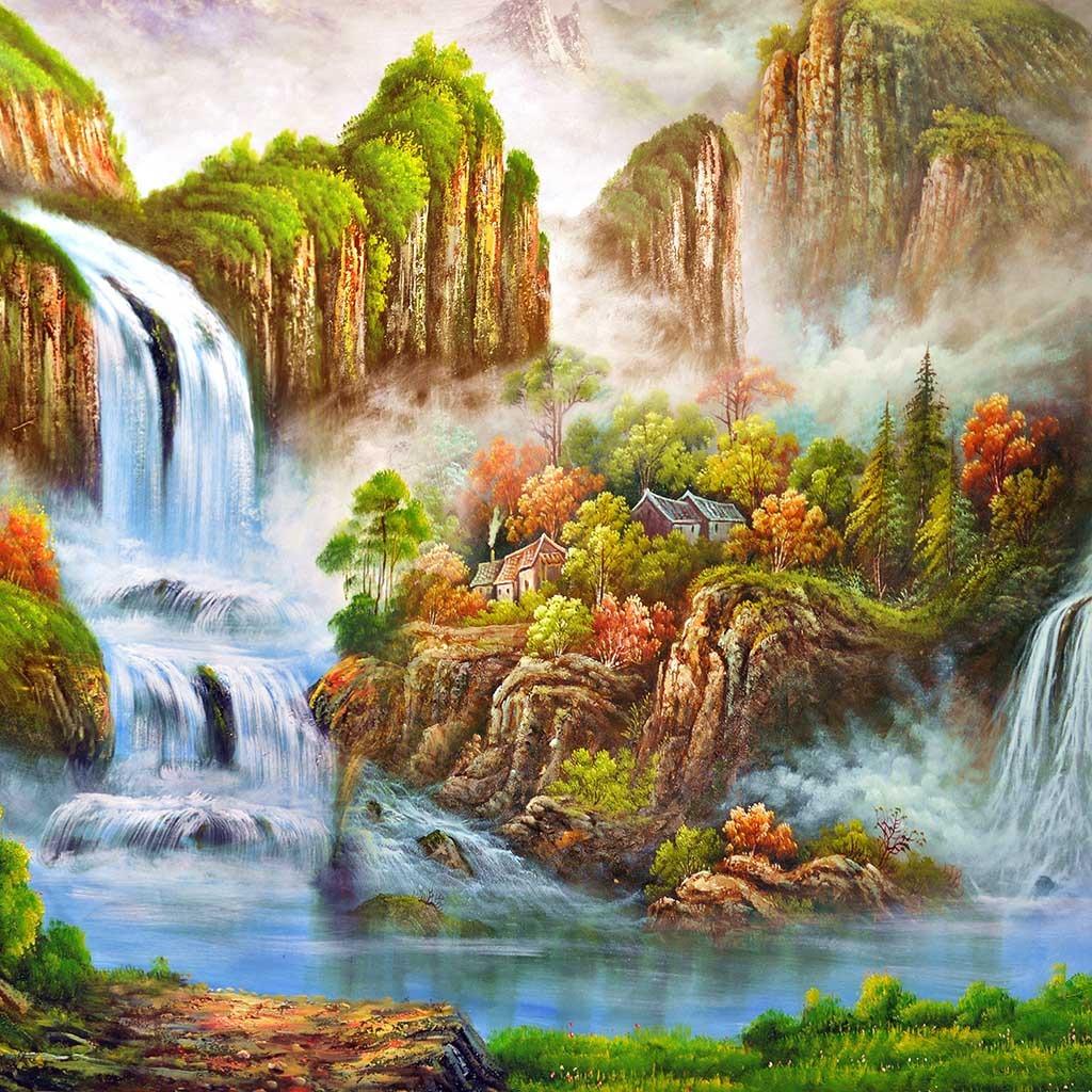 瀑布高山流水树林油画