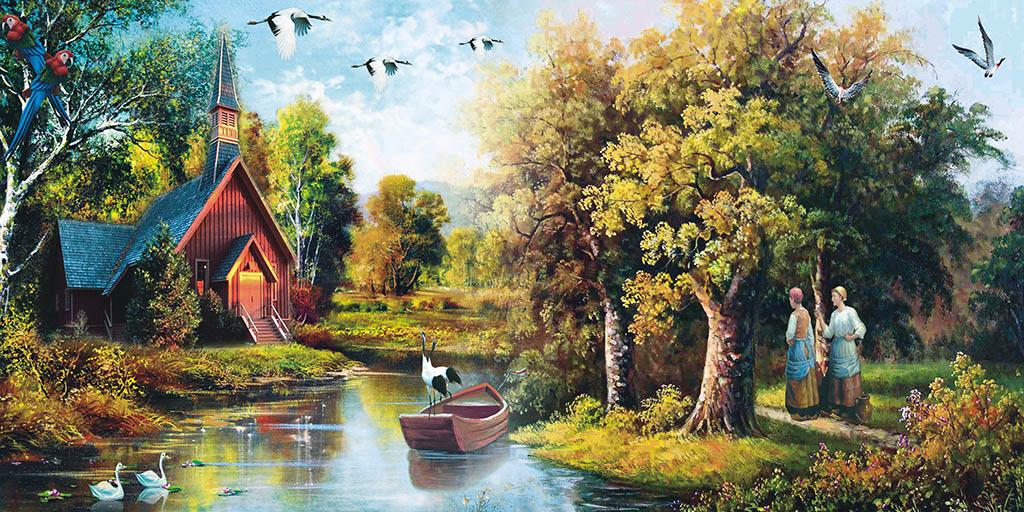 薄板画 小桥 流水 人家 河边 江边 妇女 天鹅 飞鹤 房子 树林 森林