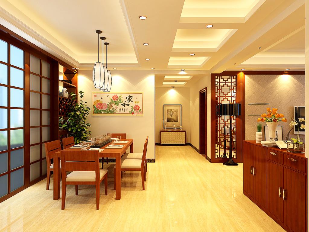 中式客厅,中式效果图图片下载