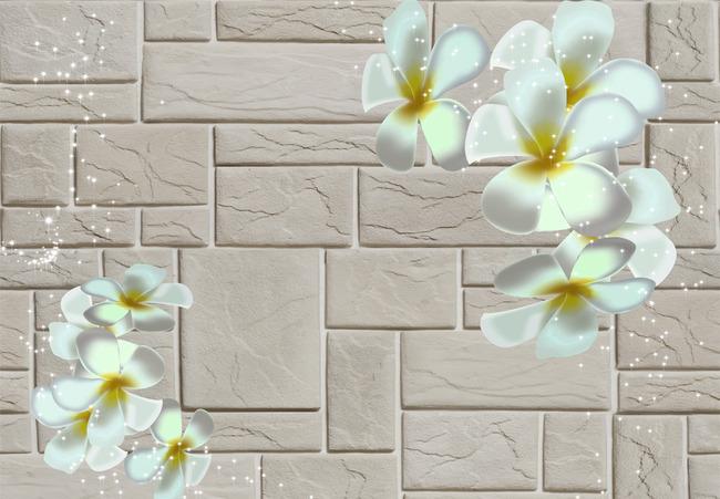 客厅电视背景墙 电视墙 时尚 梦幻花朵 砖墙 装饰画 立体背景墙 鸡蛋