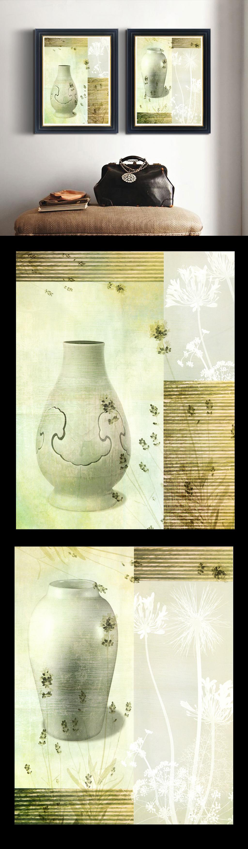 高清手绘现代写意风格做旧陶瓷油画
