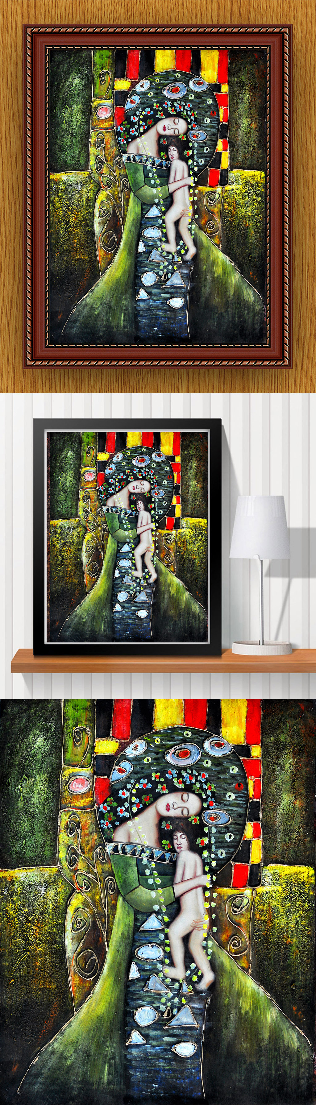 高清手绘现代风格立体金属女性人物油画