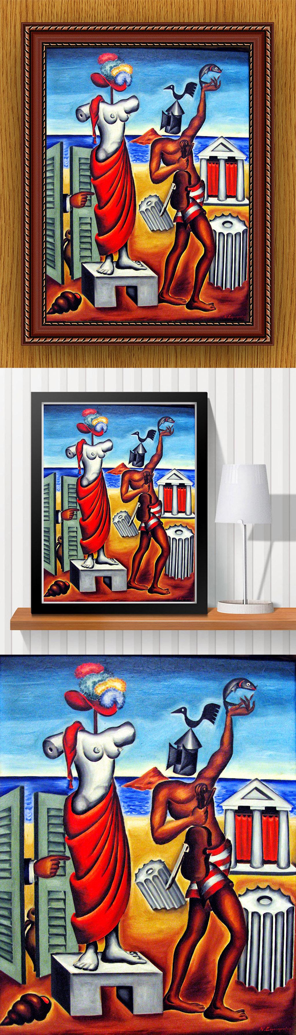 高清手绘现代风格抽象派人物油画