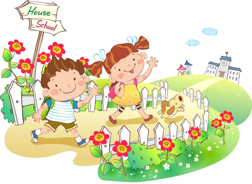 放学上学效游玩耍的卡通儿童小朋友插画素材图片