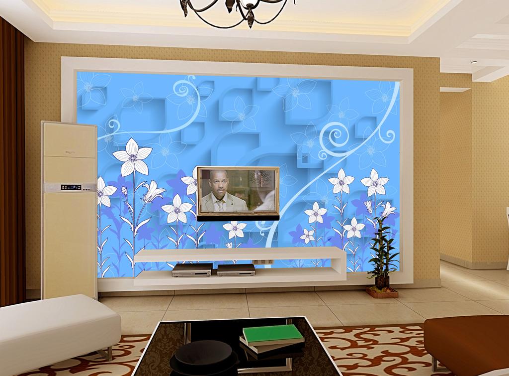 3d蓝色小花电视背景墙背景