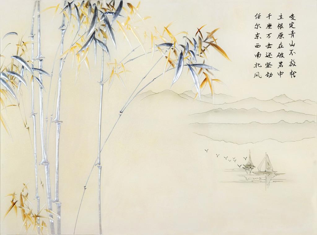 竹子的水墨画