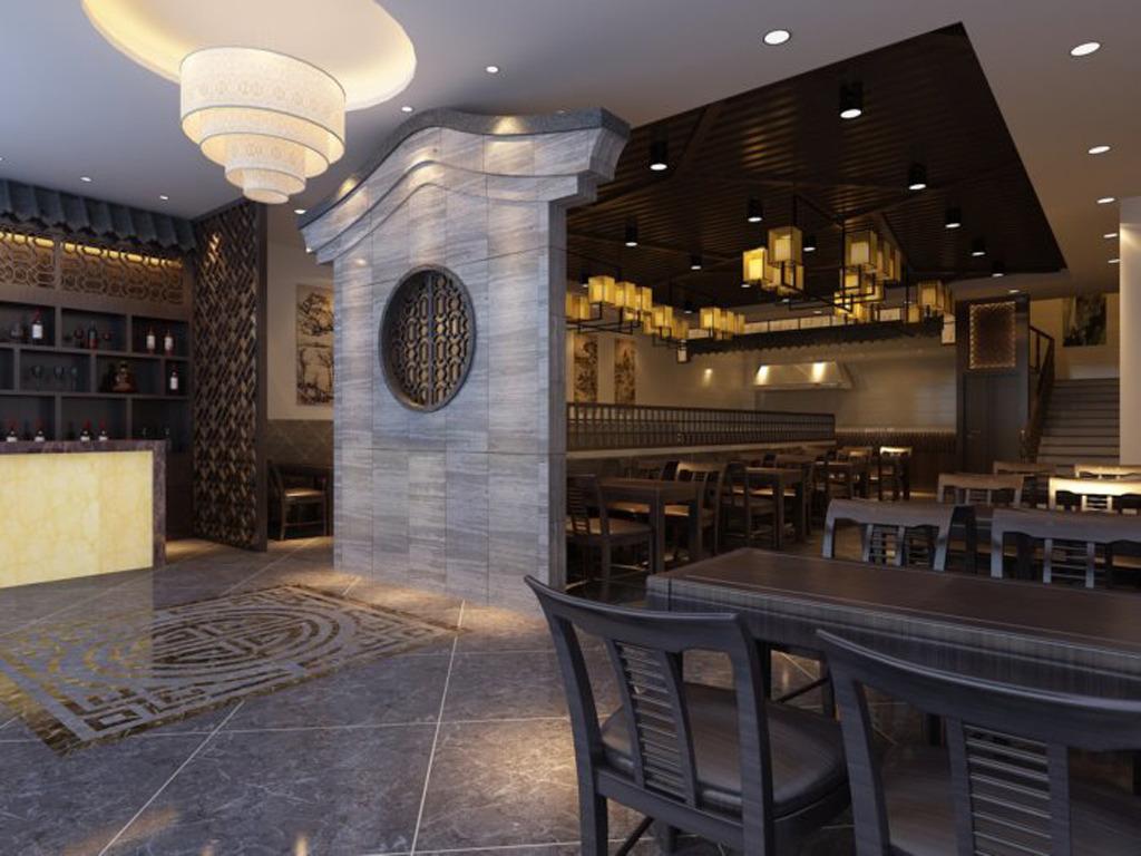 中式餐饮店3d装修效果图