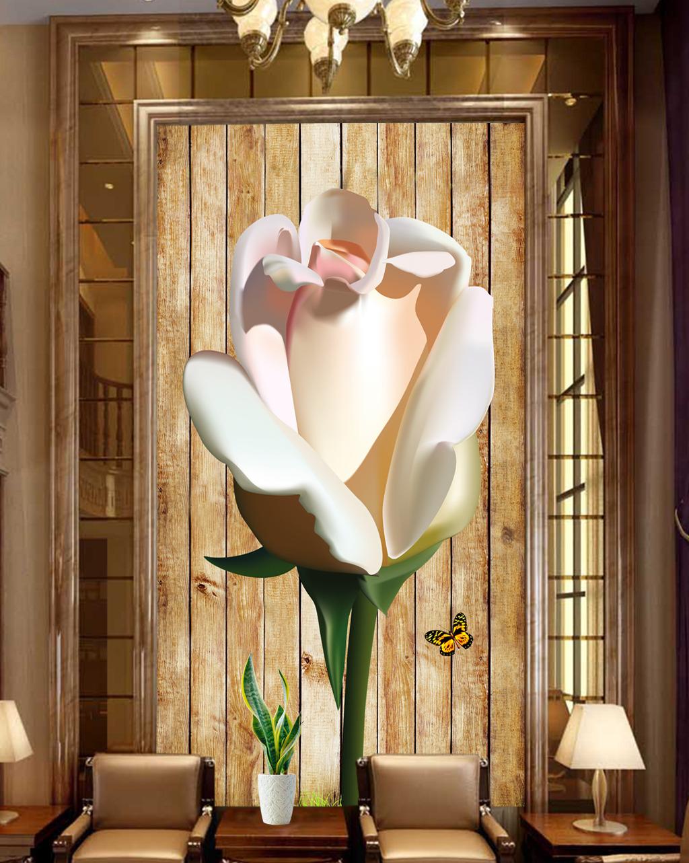 粉色玫瑰木板玄关背景墙