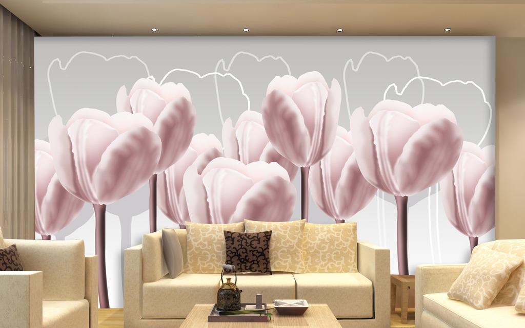 百合花手绘电视背景墙图片