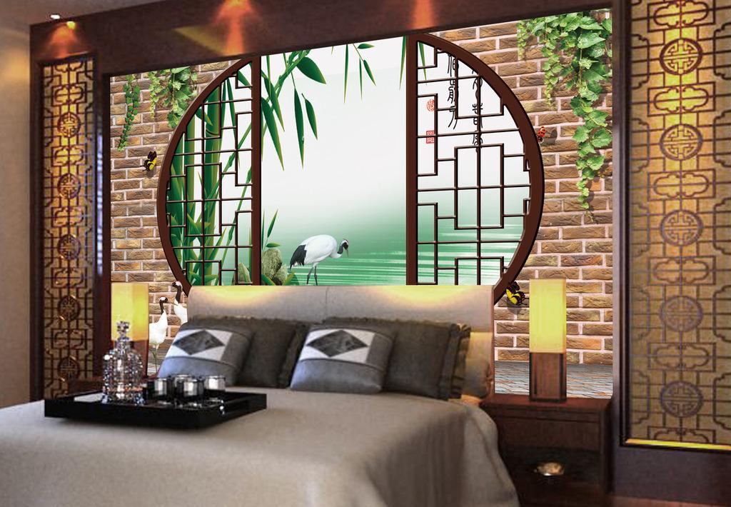 3d江南水乡中式园林电视背景墙