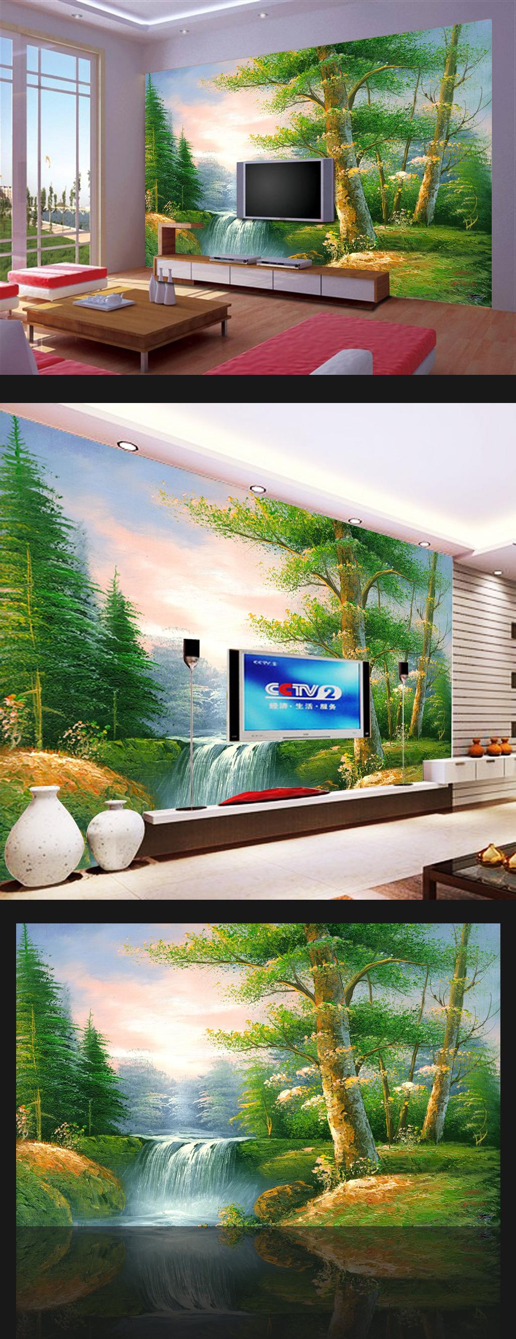背景墙|装饰画 电视背景墙 手绘电视背景墙 > 油画森林风景客厅电视