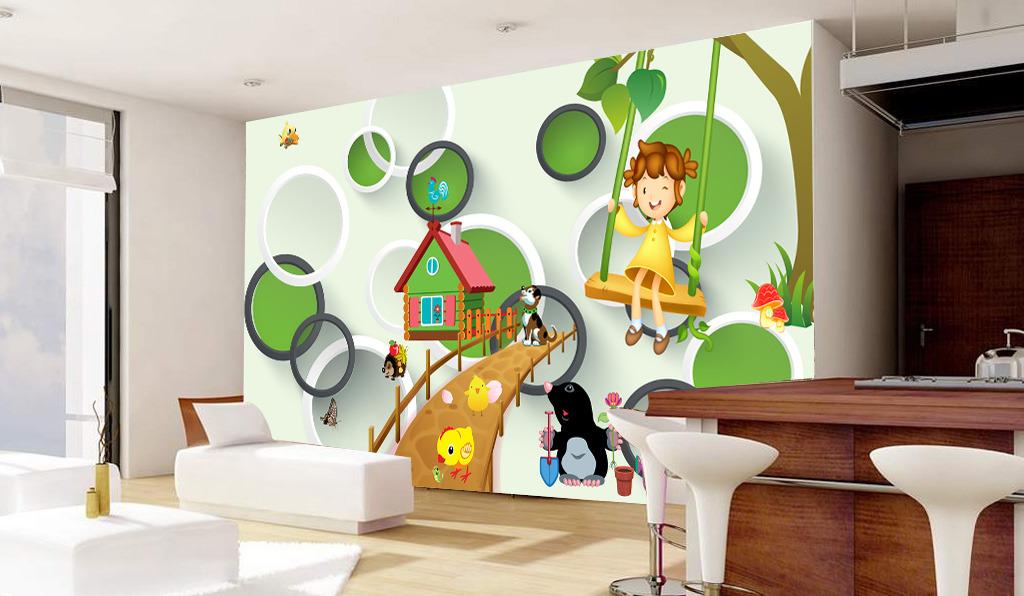 儿童房间卡通动画图片3d圆圈立体背景墙
